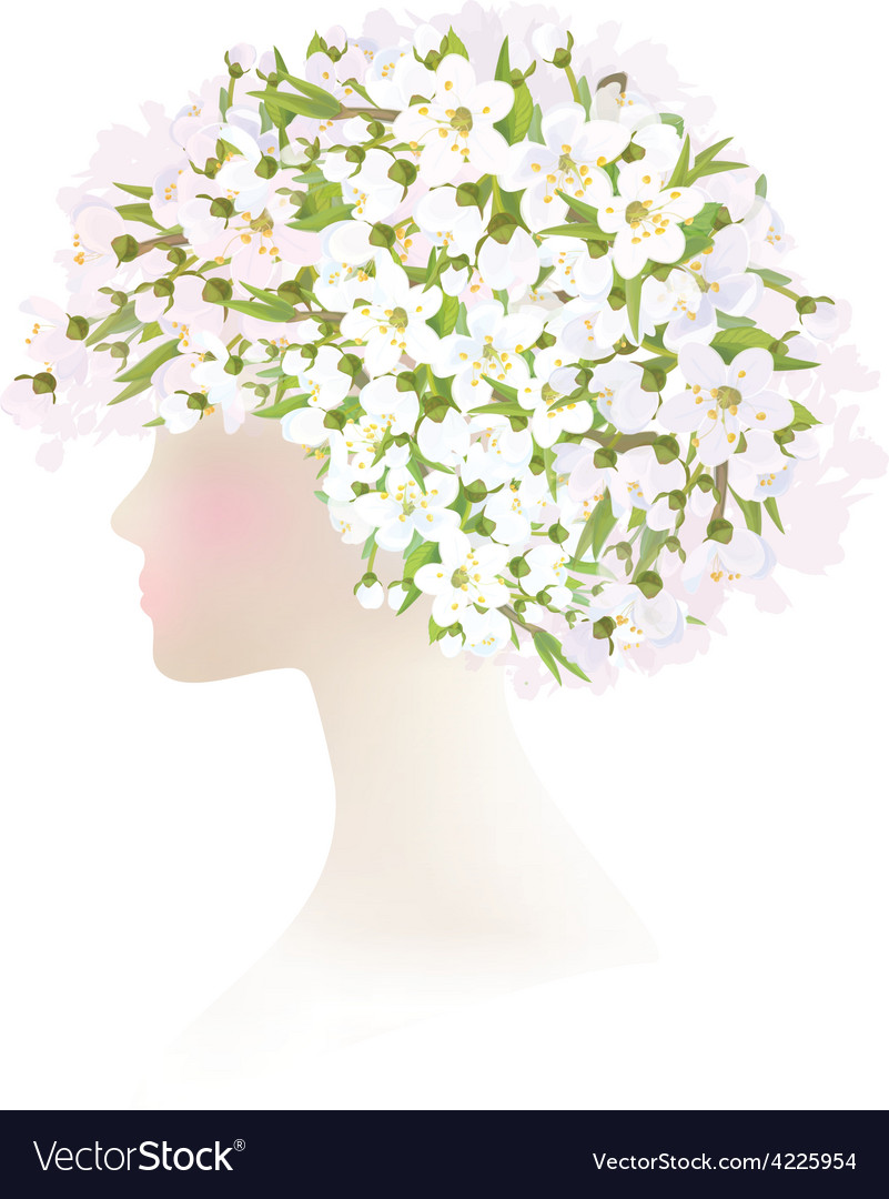 Woman flowers vector | Price: 1 Credit (USD $1)