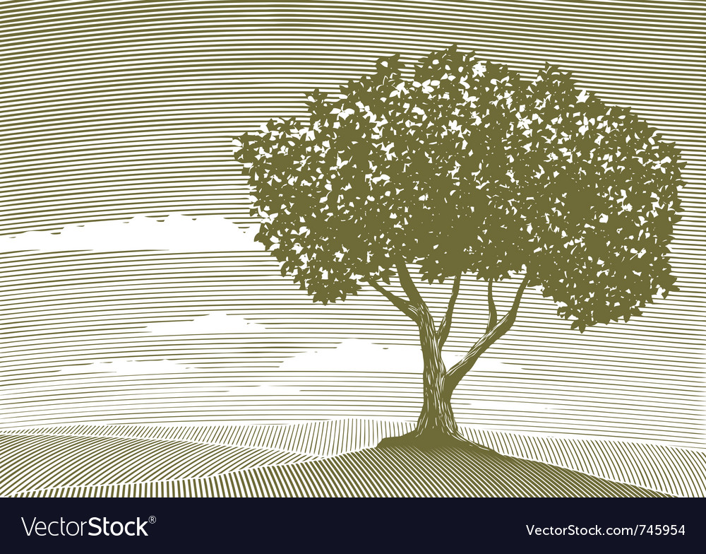 Woodcut tree landscape vector | Price: 1 Credit (USD $1)