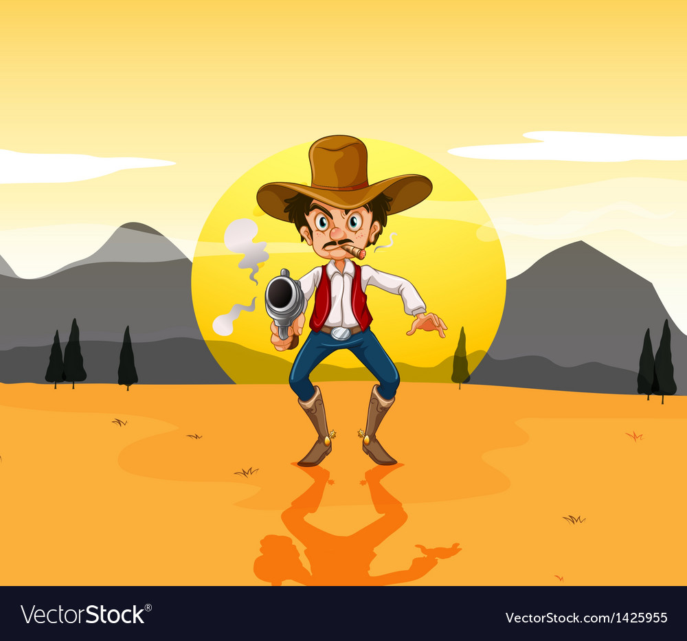 A cowboy holding a gun in the middle of the desert vector | Price: 1 Credit (USD $1)
