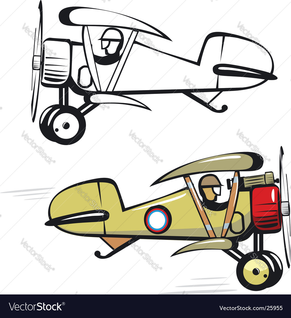Cartoon biplane vector | Price: 1 Credit (USD $1)