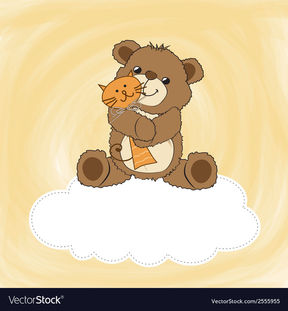 Childish greeting card with teddy bear and his toy vector | Price: 1 Credit (USD $1)