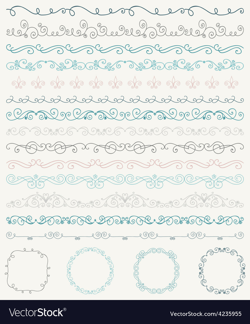 Hand sketched borders and frames dividers swirls vector | Price: 1 Credit (USD $1)