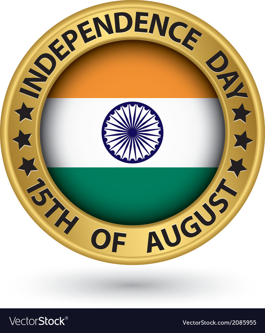 Indian independence day 15th of august gold label vector | Price: 1 Credit (USD $1)