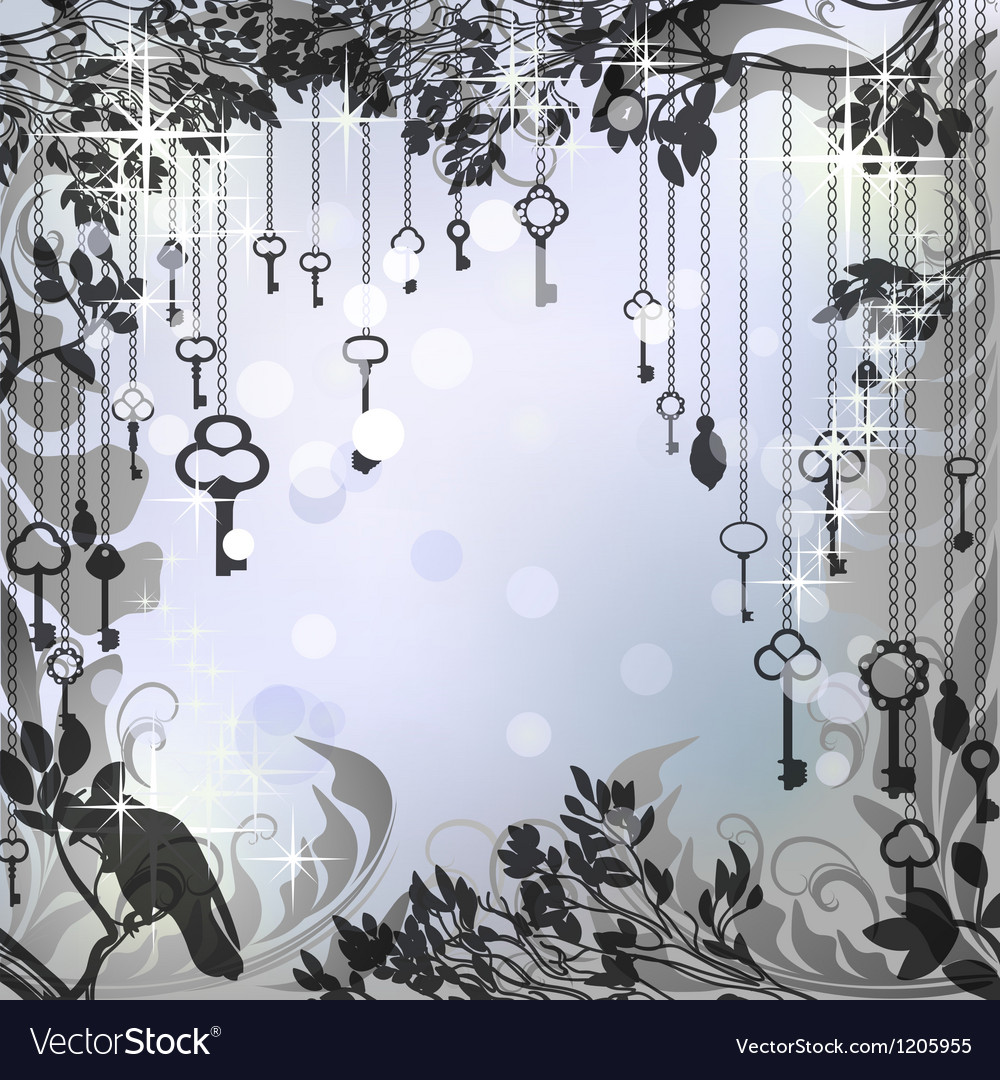 Silver glittering background with antique keys vector | Price: 1 Credit (USD $1)