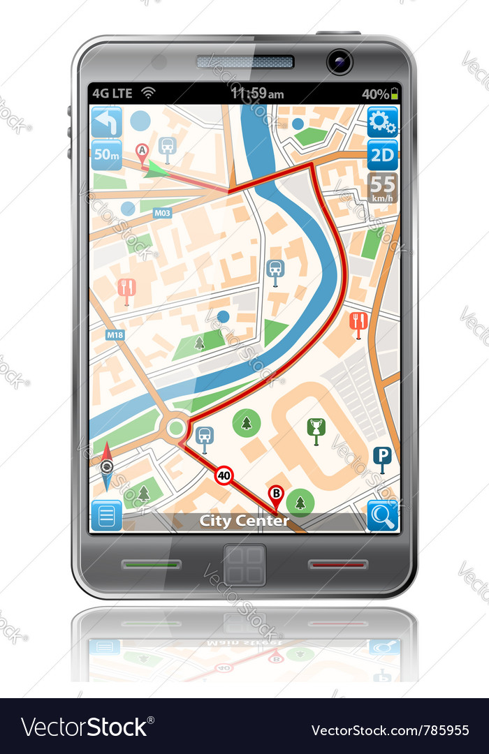Smart phones with gps navigation vector | Price: 3 Credit (USD $3)
