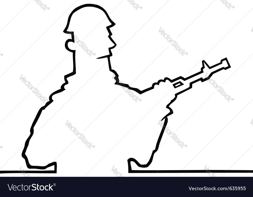 Soldier holding a rifle vector | Price: 1 Credit (USD $1)