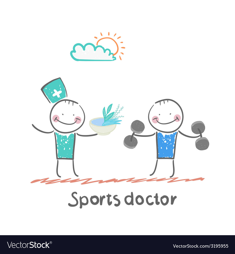 Sports doctor gives a healthy meal to the person vector | Price: 1 Credit (USD $1)