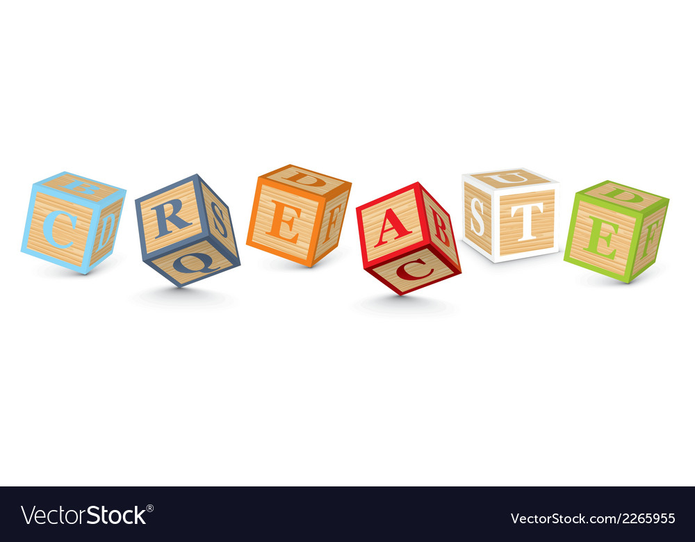 Word create written with alphabet blocks vector | Price: 1 Credit (USD $1)