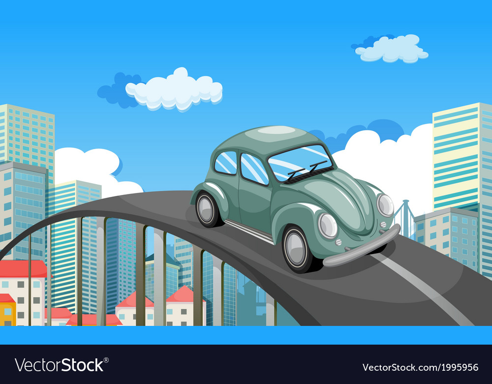 A car travelling at the road in the city vector | Price: 3 Credit (USD $3)