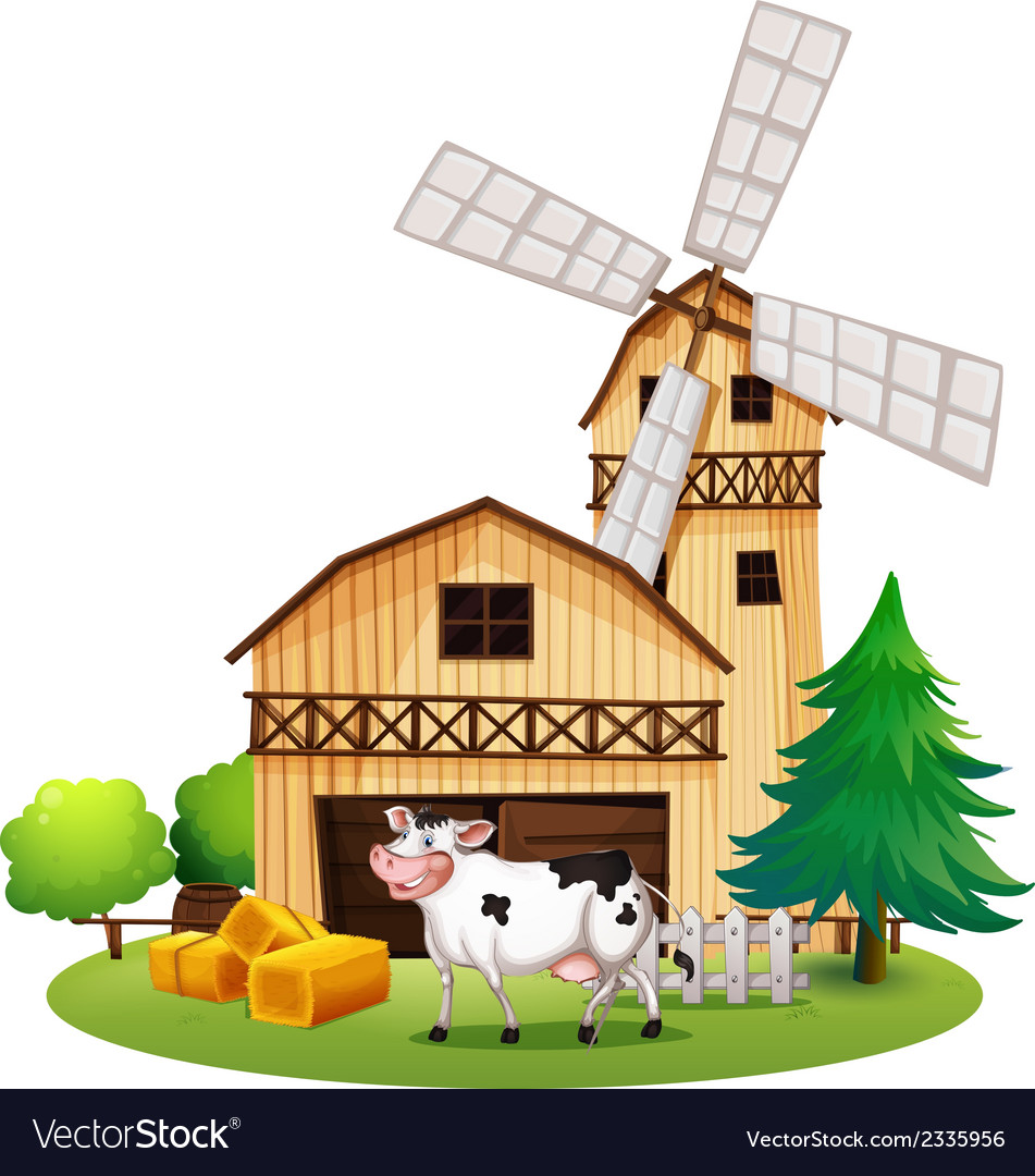 A cow in front of the barnhouse vector | Price: 3 Credit (USD $3)