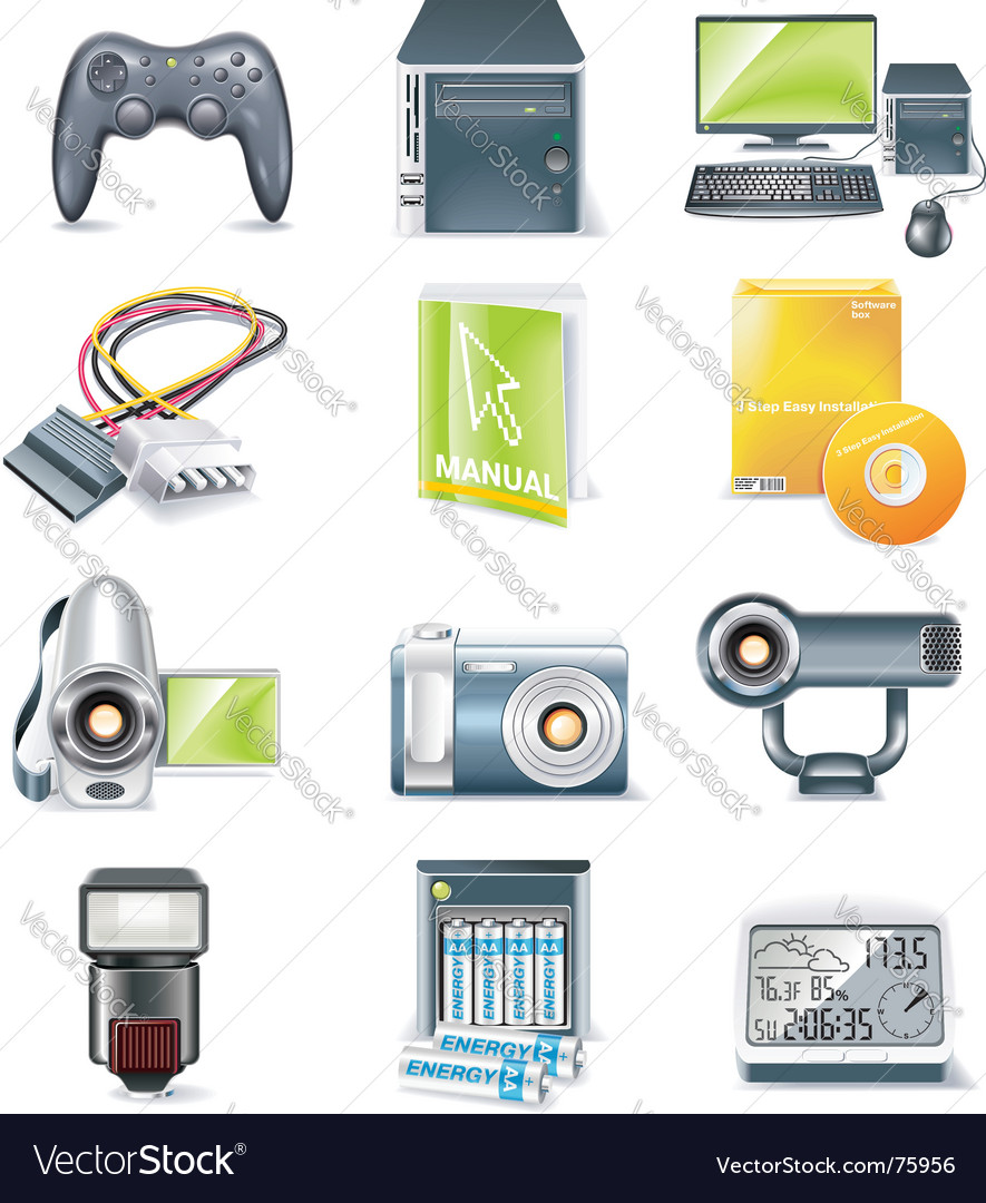 Computer parts icon set vector | Price: 5 Credit (USD $5)