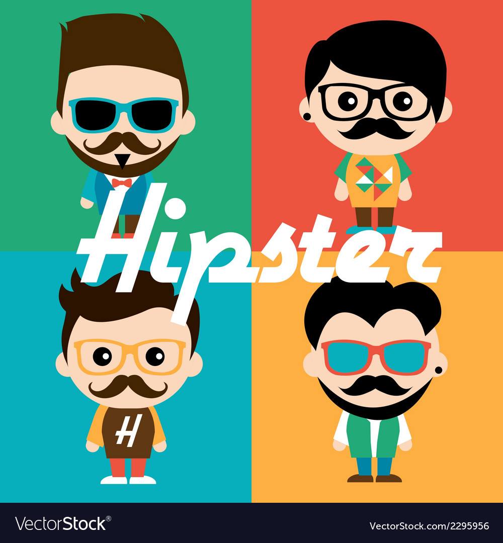 Cute of characters in hipsters vector | Price: 1 Credit (USD $1)