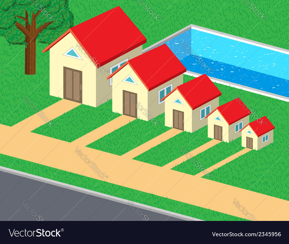 Family of cute houses vector | Price: 1 Credit (USD $1)