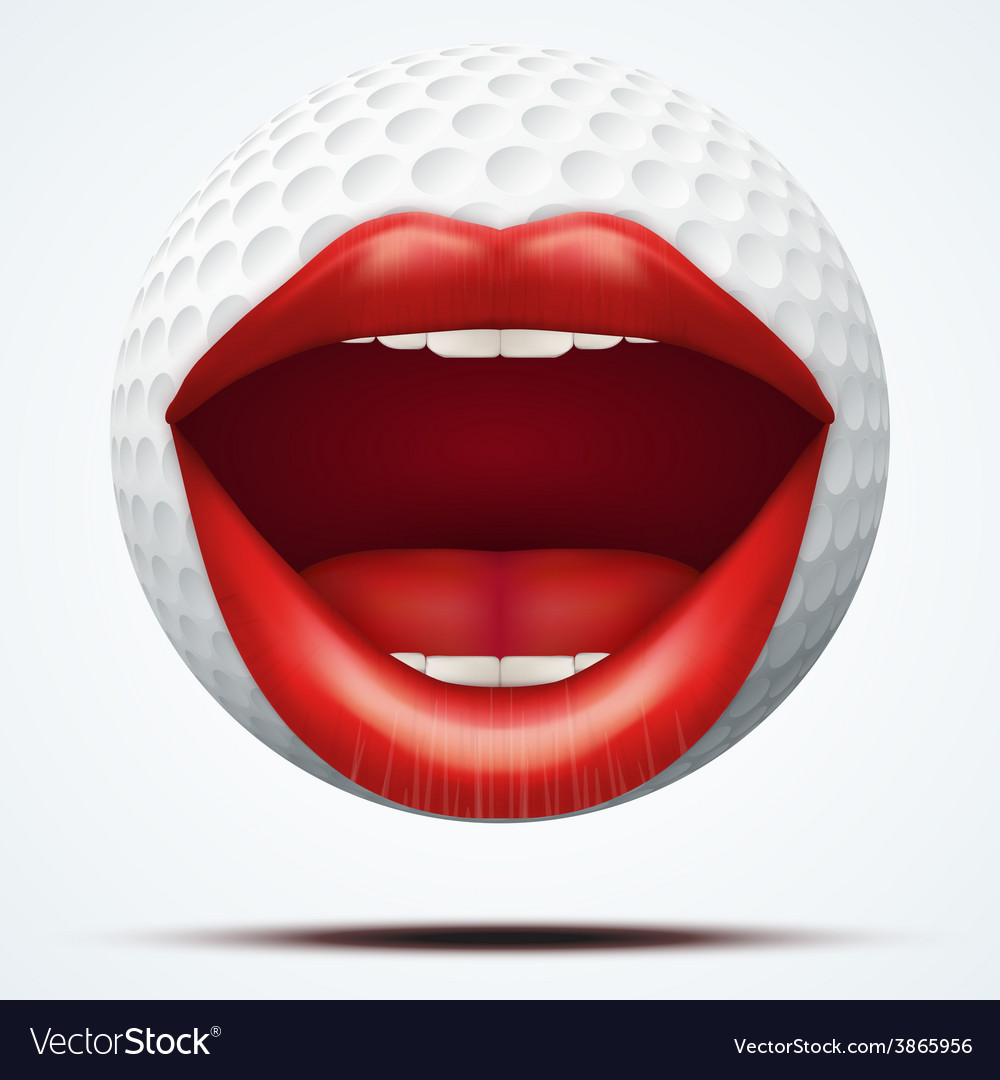 Golf ball with a talking female mouth vector | Price: 3 Credit (USD $3)