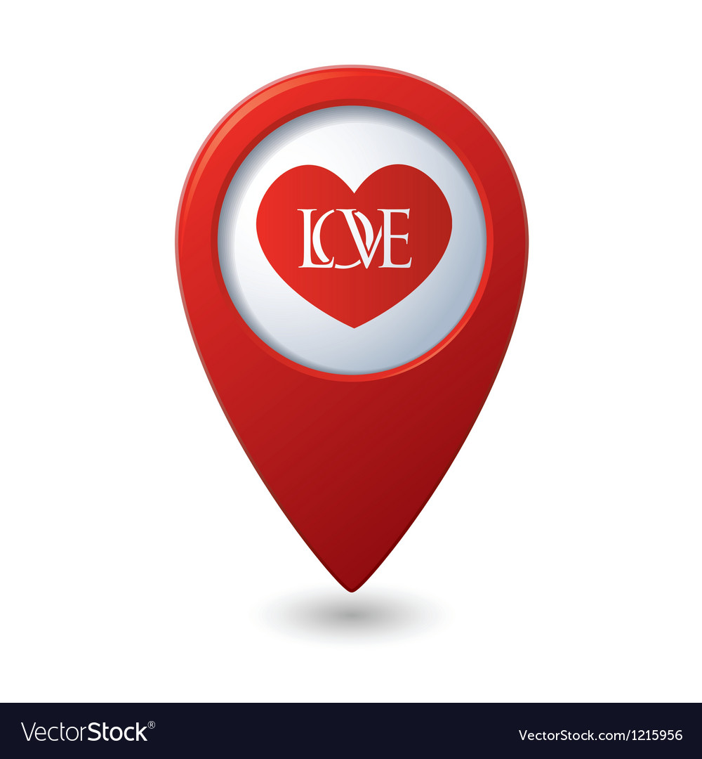Heart icon with love on the red map pointer vector | Price: 1 Credit (USD $1)