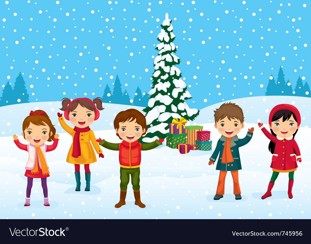 Kids christmas time vector | Price: 3 Credit (USD $3)