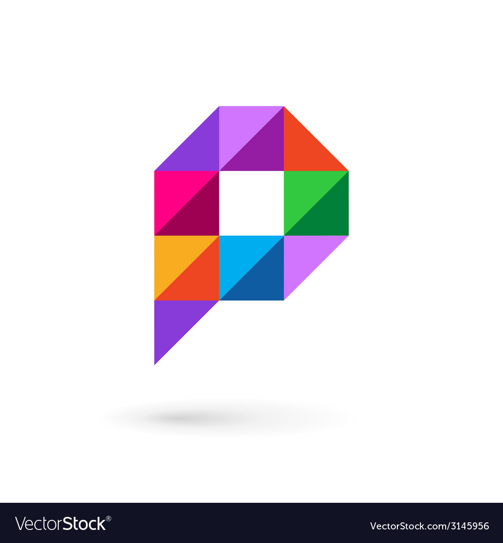Letter p speech bubble mosaic logo icon design vector | Price: 1 Credit (USD $1)