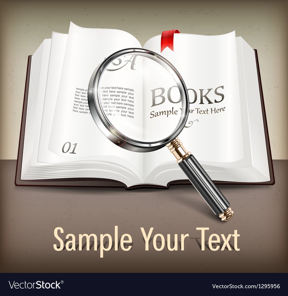 Open book and magnifying vector | Price: 3 Credit (USD $3)