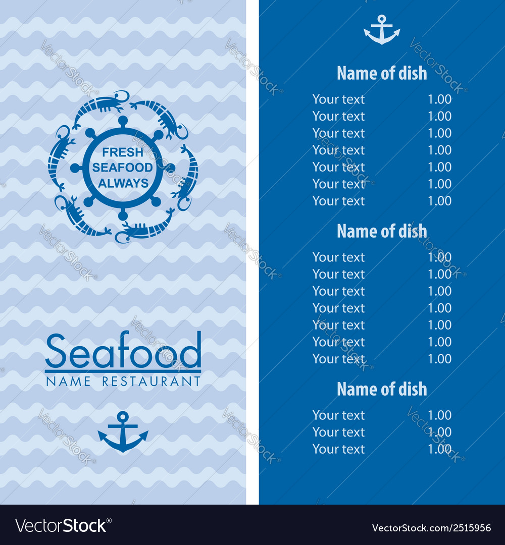 Seafood menu design vector | Price: 1 Credit (USD $1)