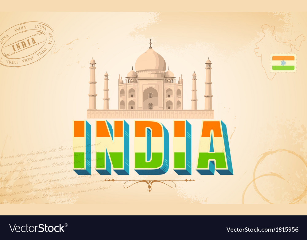 Taj mahal in india background vector | Price: 1 Credit (USD $1)