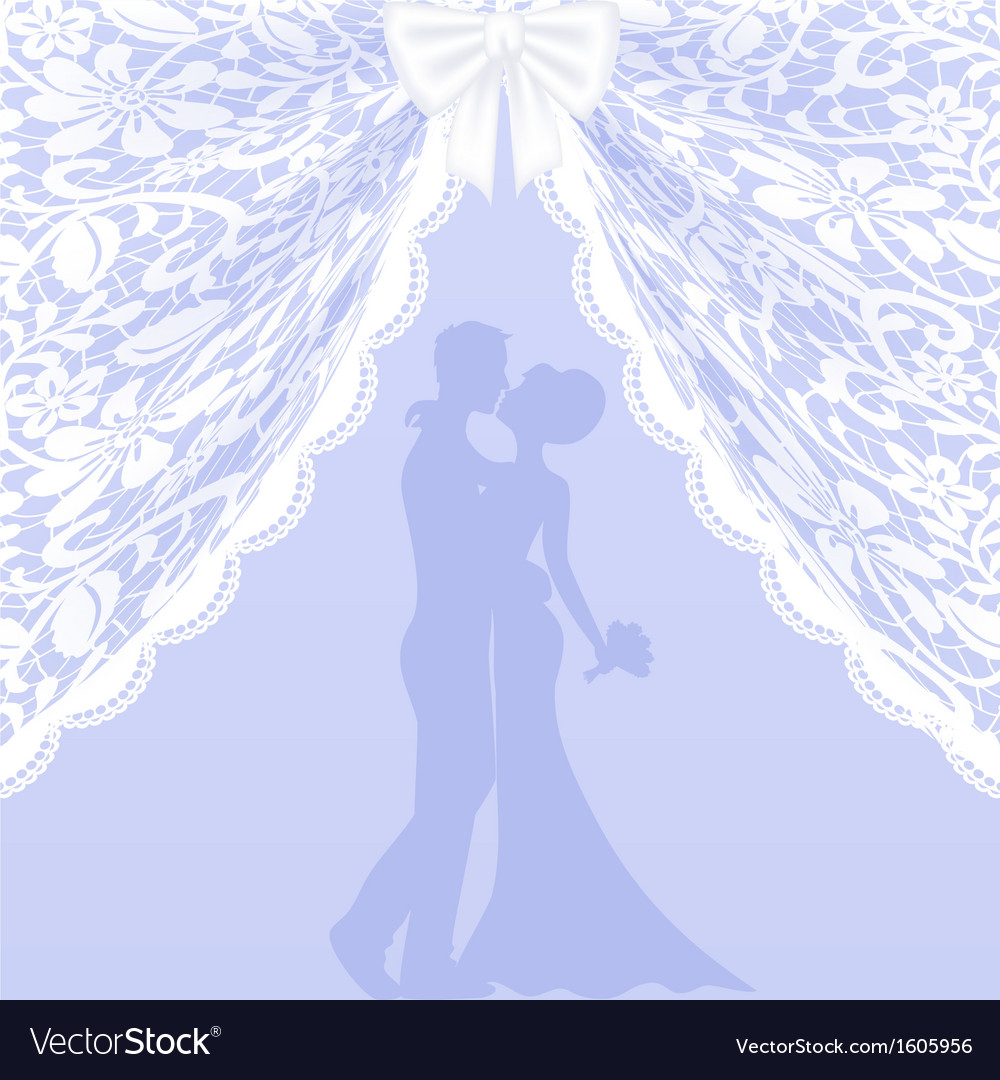 Wedding card with lace curtains and bow vector | Price: 1 Credit (USD $1)