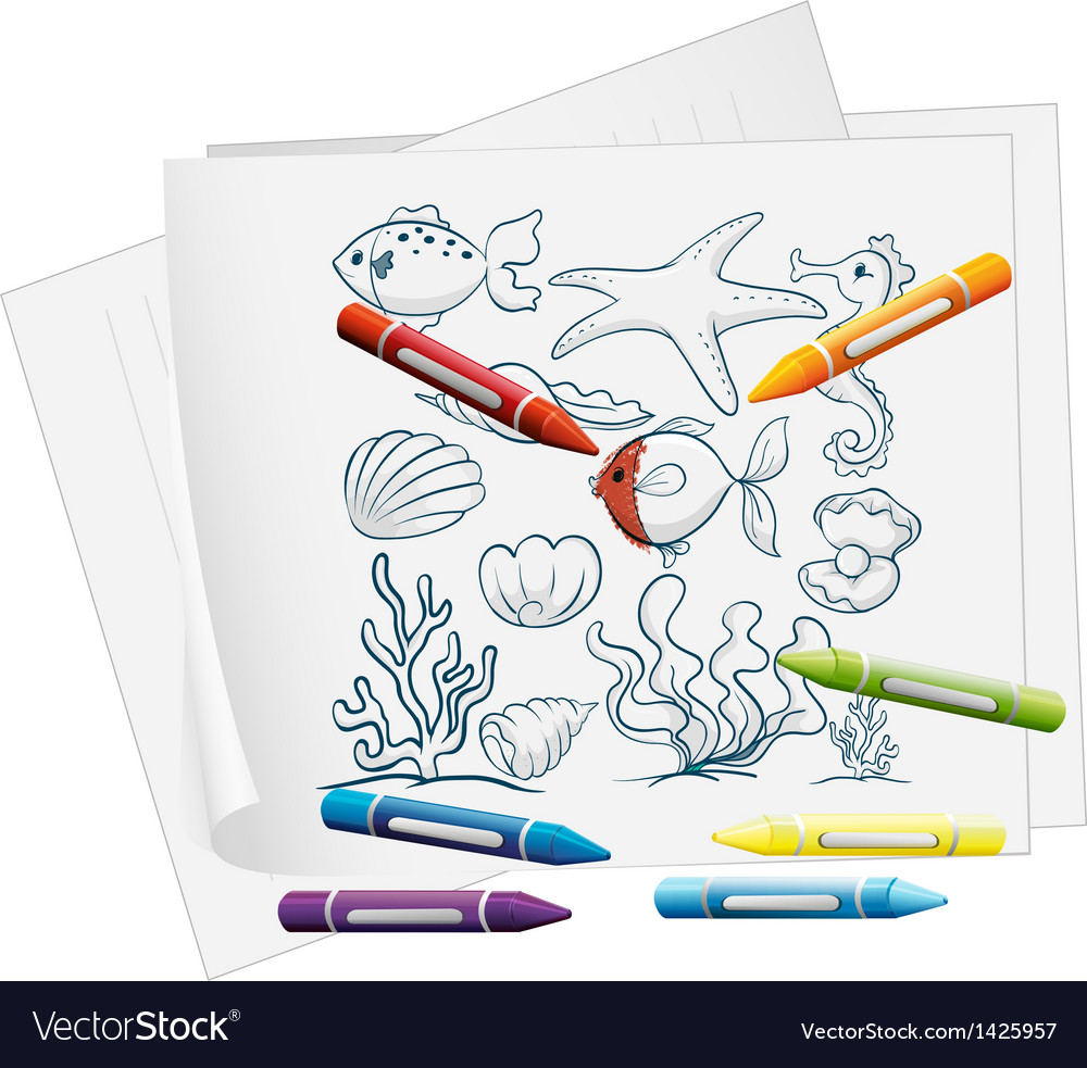A paper with the different sea creatures and vector | Price: 1 Credit (USD $1)