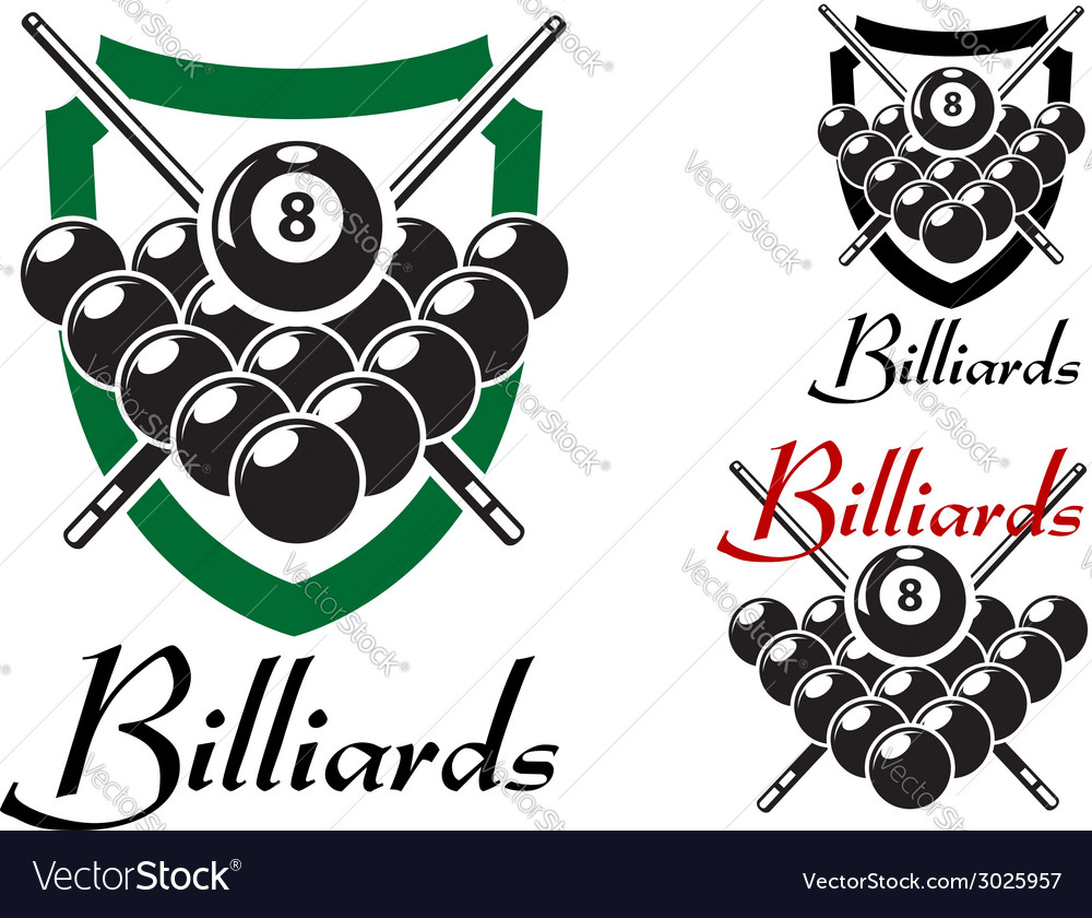 Billiards and snooker retro emblems set vector | Price: 1 Credit (USD $1)