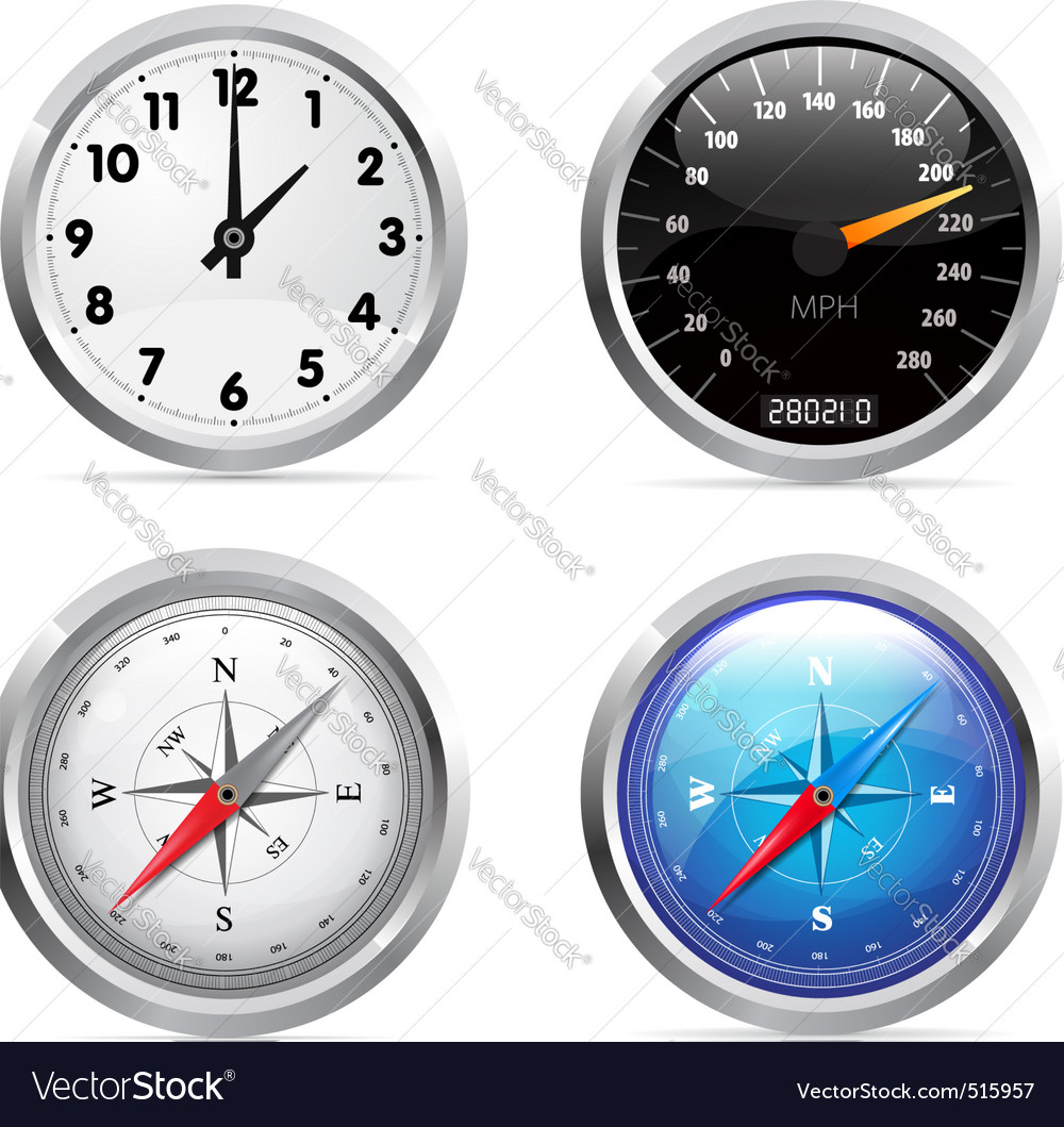 Clock speedometer and compass set vector | Price: 1 Credit (USD $1)