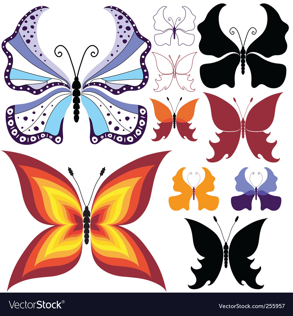 Collection abstract butterflies vector | Price: 1 Credit (USD $1)