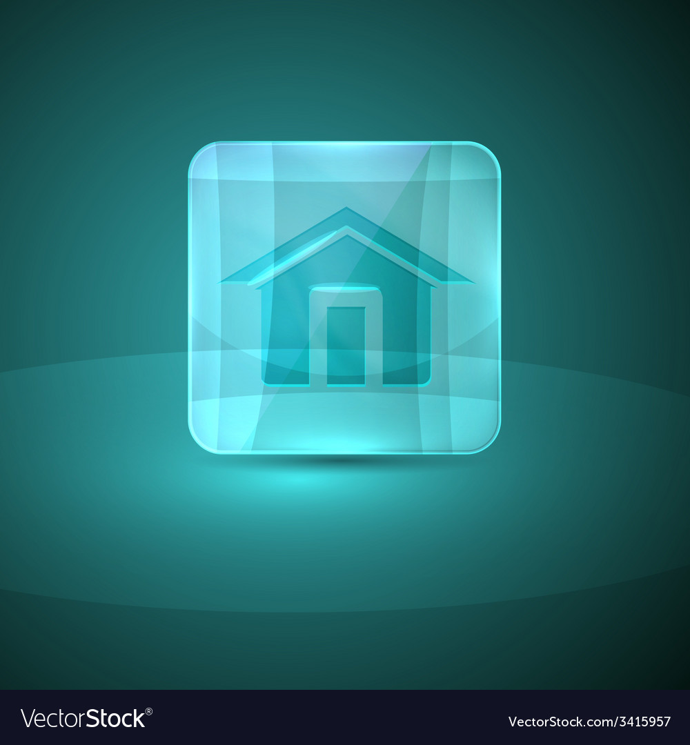 Glass icon with home sign vector | Price: 1 Credit (USD $1)