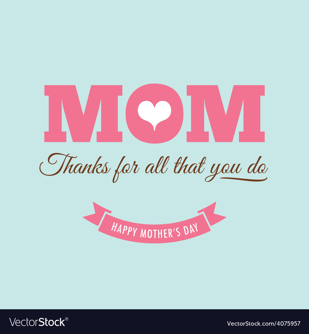 Mothers day card green background with quote vector | Price: 1 Credit (USD $1)