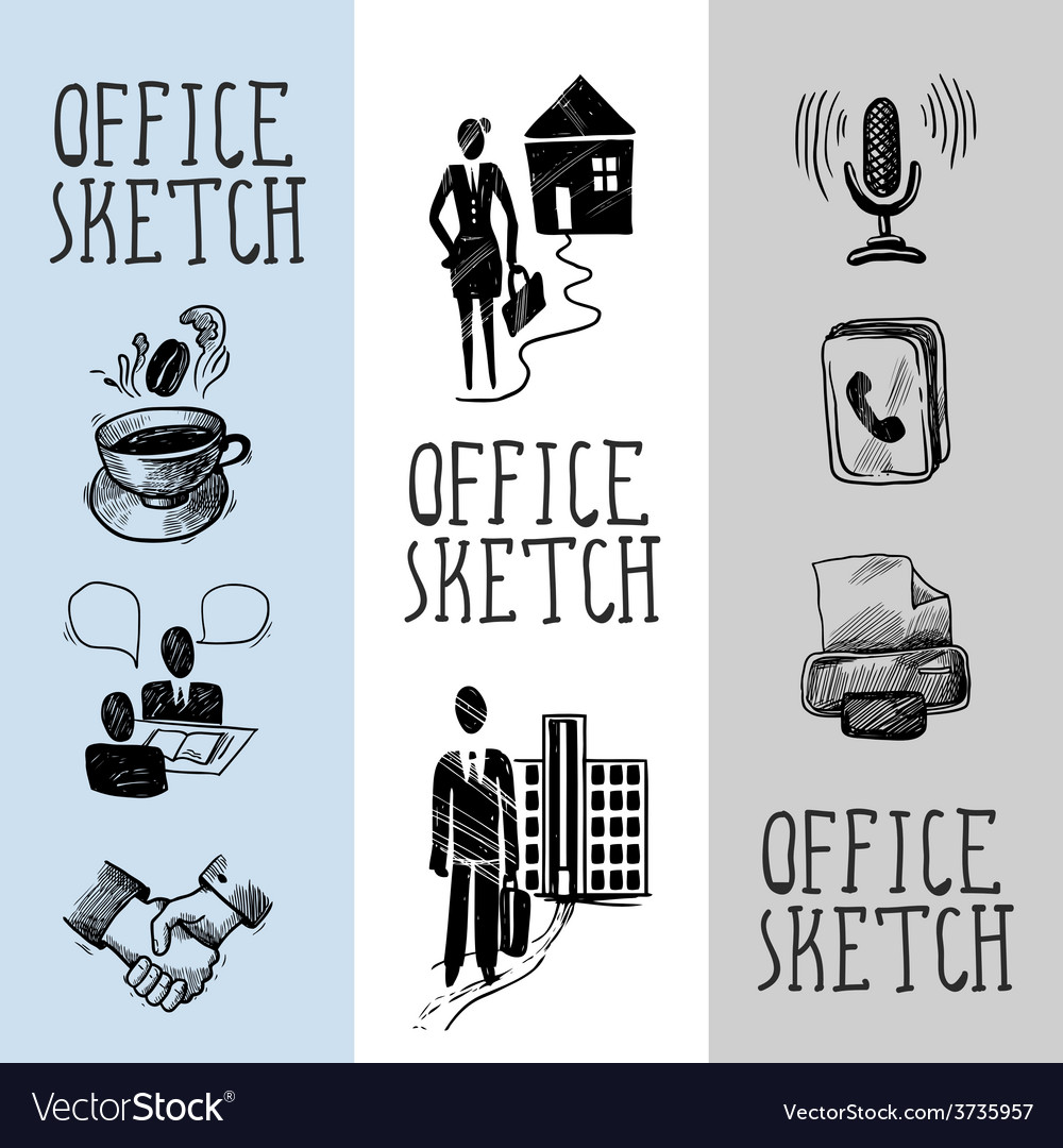 Office sketch banner design vector | Price: 1 Credit (USD $1)