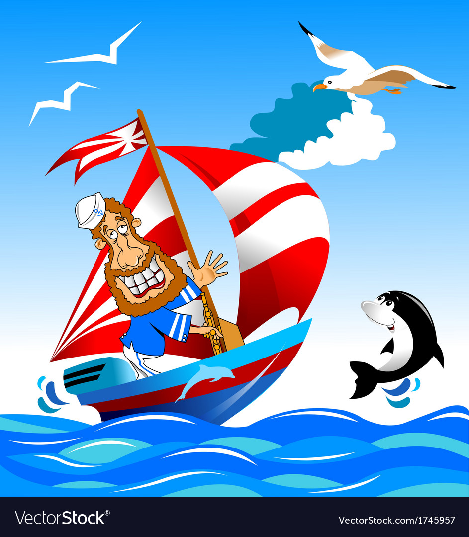 Sailor on boat vector | Price: 1 Credit (USD $1)