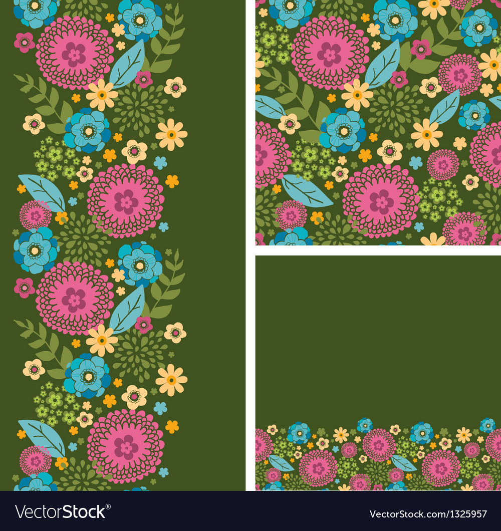 Set of vibrant summer plants seamless pattern and vector | Price: 1 Credit (USD $1)