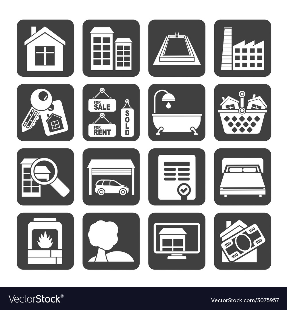 Silhouette real estate objects and icons vector | Price: 1 Credit (USD $1)