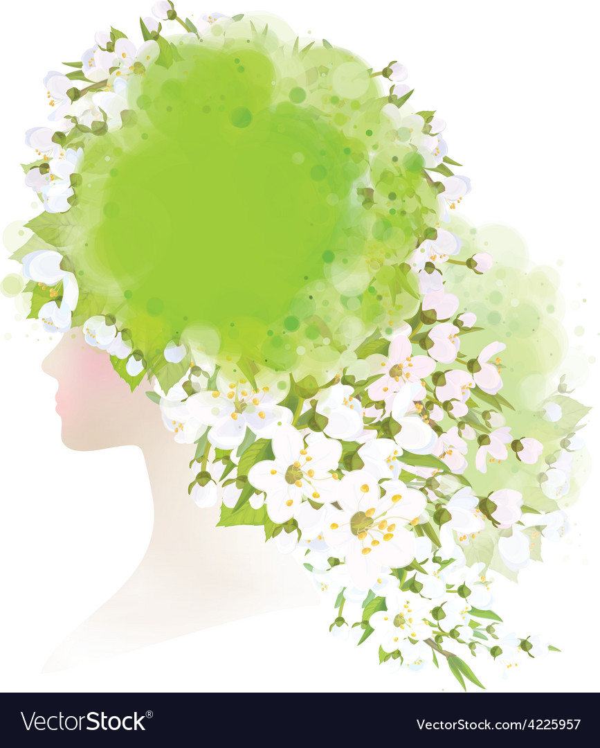Spring woman floral vector | Price: 1 Credit (USD $1)