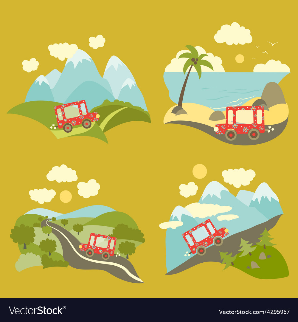 Summer vacation trip icons set vector