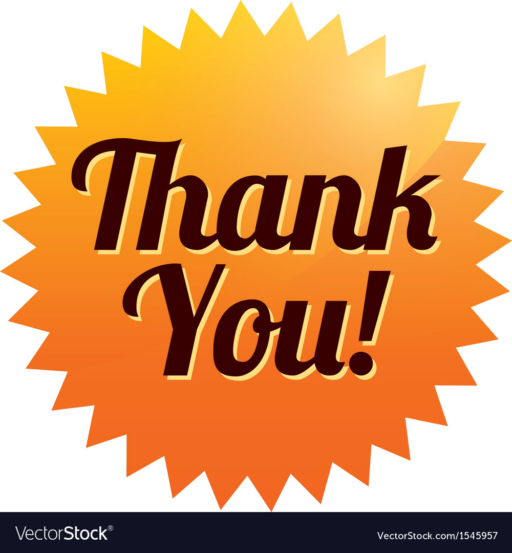 Thank you sticker  orange tag icon vector | Price: 1 Credit (USD $1)