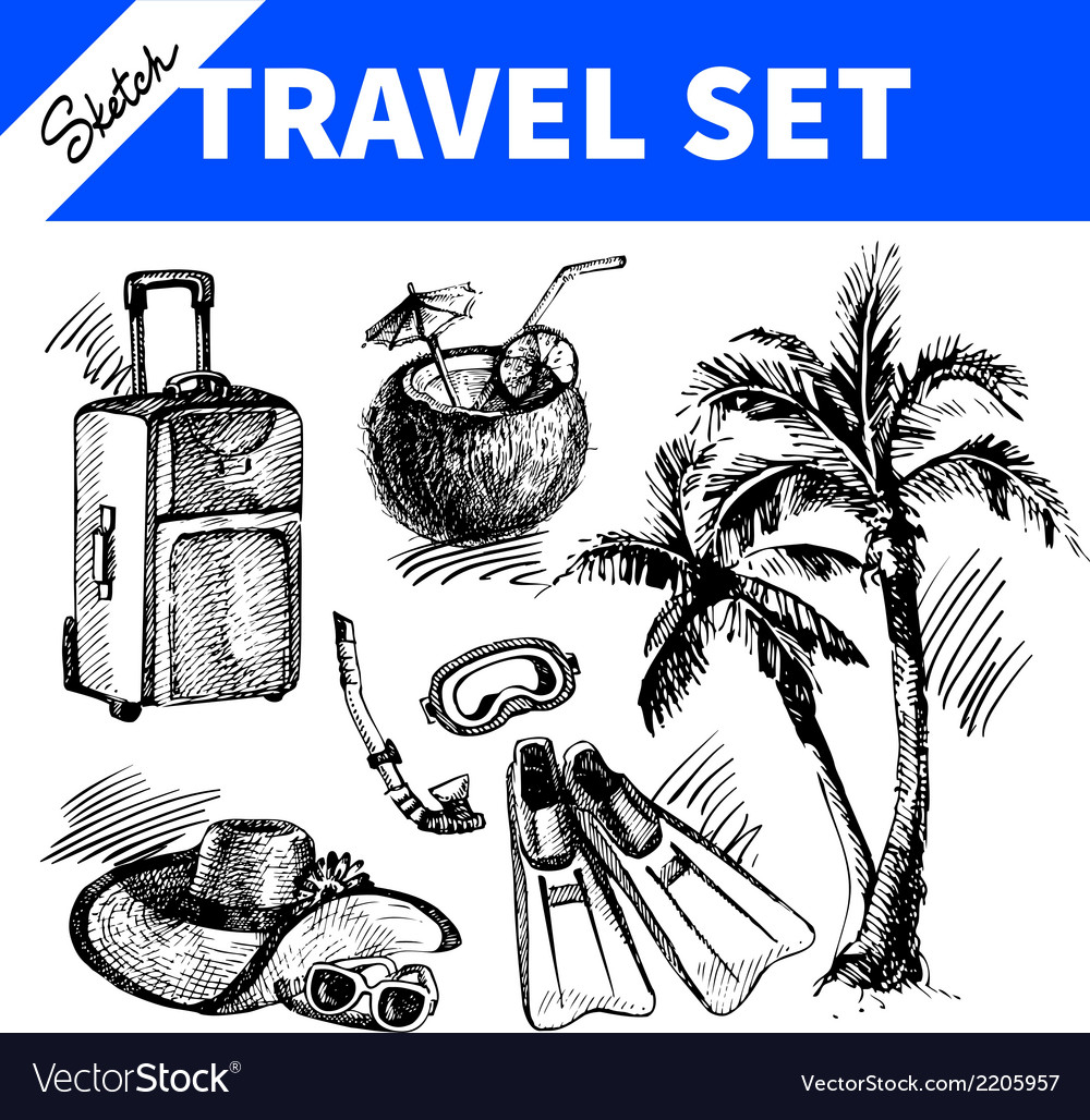 Travel and holiday set hand drawn sketch vector | Price: 1 Credit (USD $1)