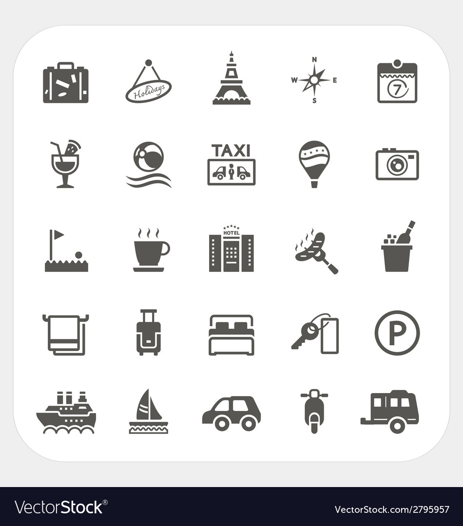 Travel and hotel icons set vector | Price: 1 Credit (USD $1)