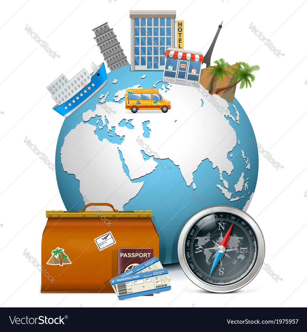 Travel concept with globe vector | Price: 1 Credit (USD $1)