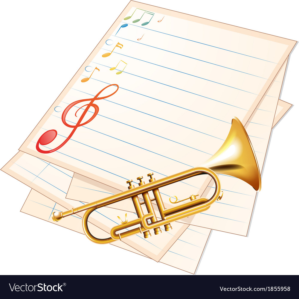 An empty music paper with a trumpet vector