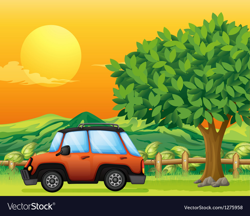 An orange vehicle near the big tree vector | Price: 1 Credit (USD $1)