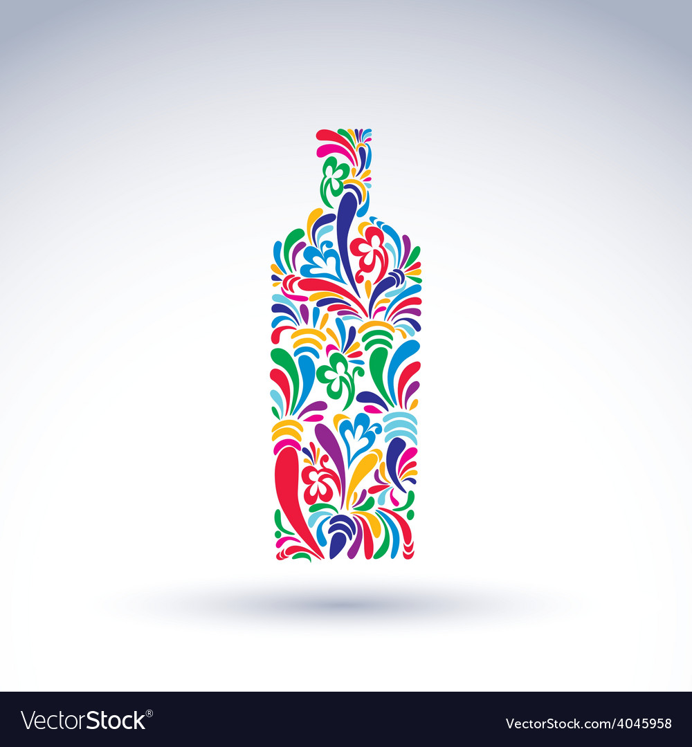 Bright flowery alcohol bottle stylized glassware vector | Price: 1 Credit (USD $1)
