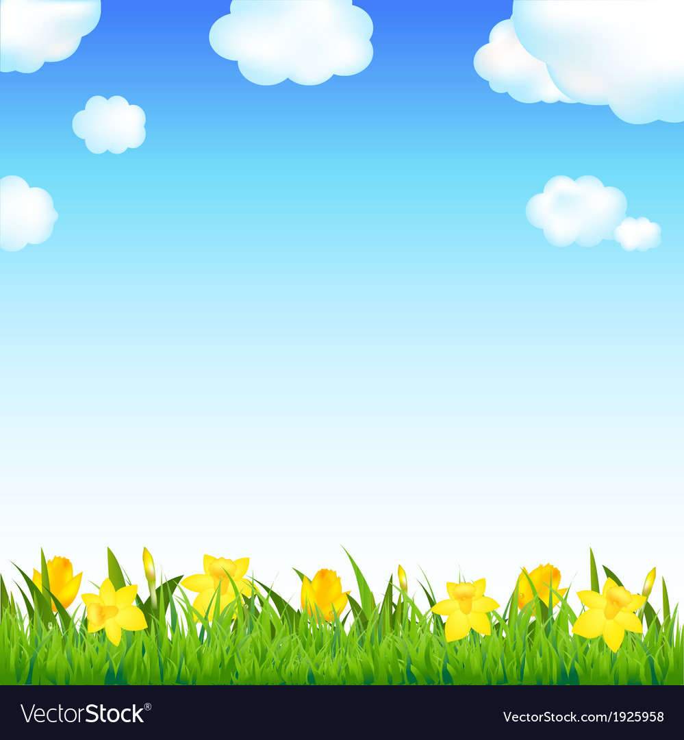 Flower meadow with grass and cloud vector | Price: 1 Credit (USD $1)