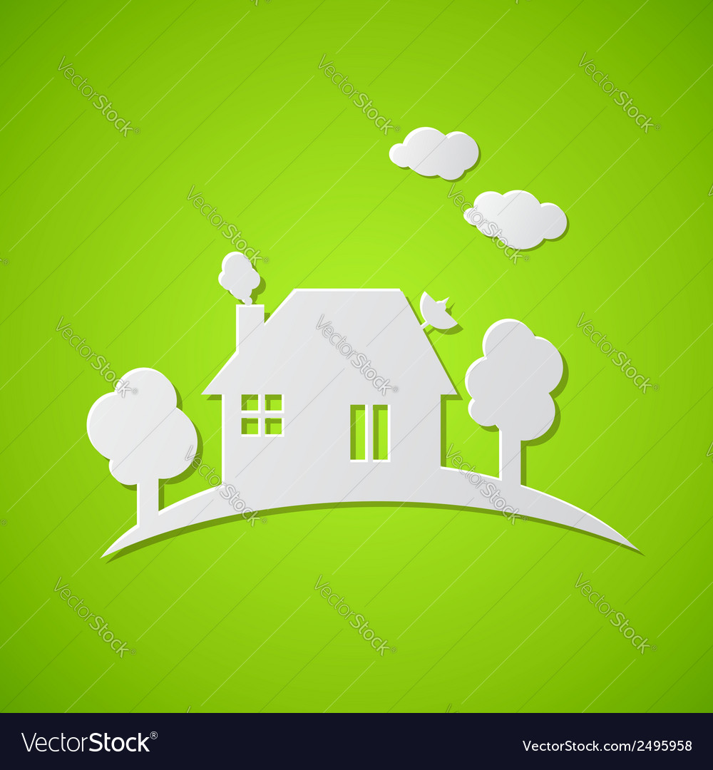 Green background with white paper house vector | Price: 1 Credit (USD $1)