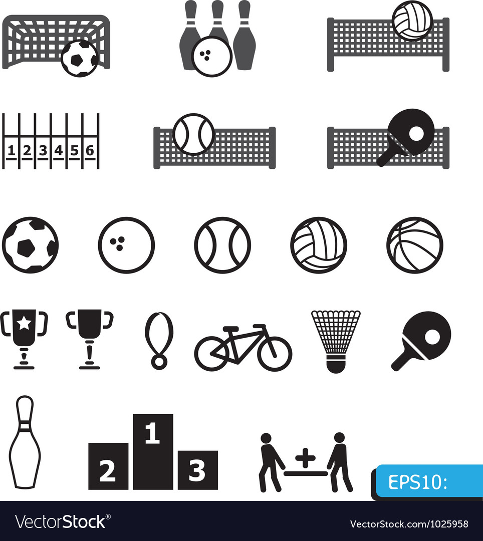 Icons sports on black buttons vector | Price: 1 Credit (USD $1)