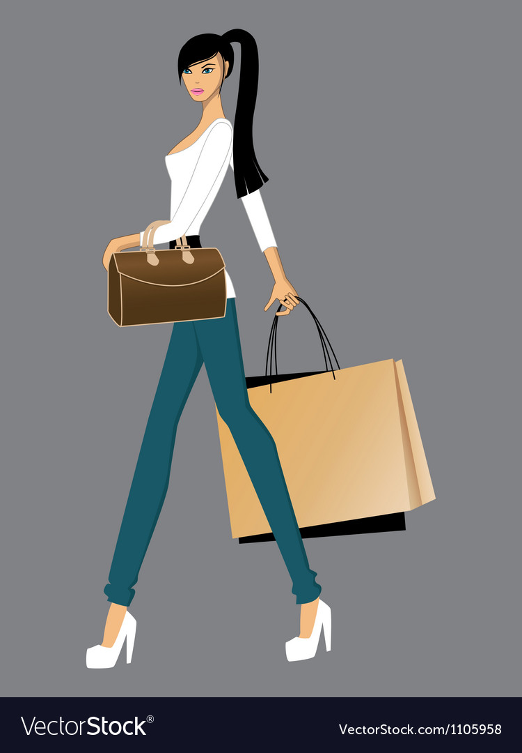 Lady with bags vector