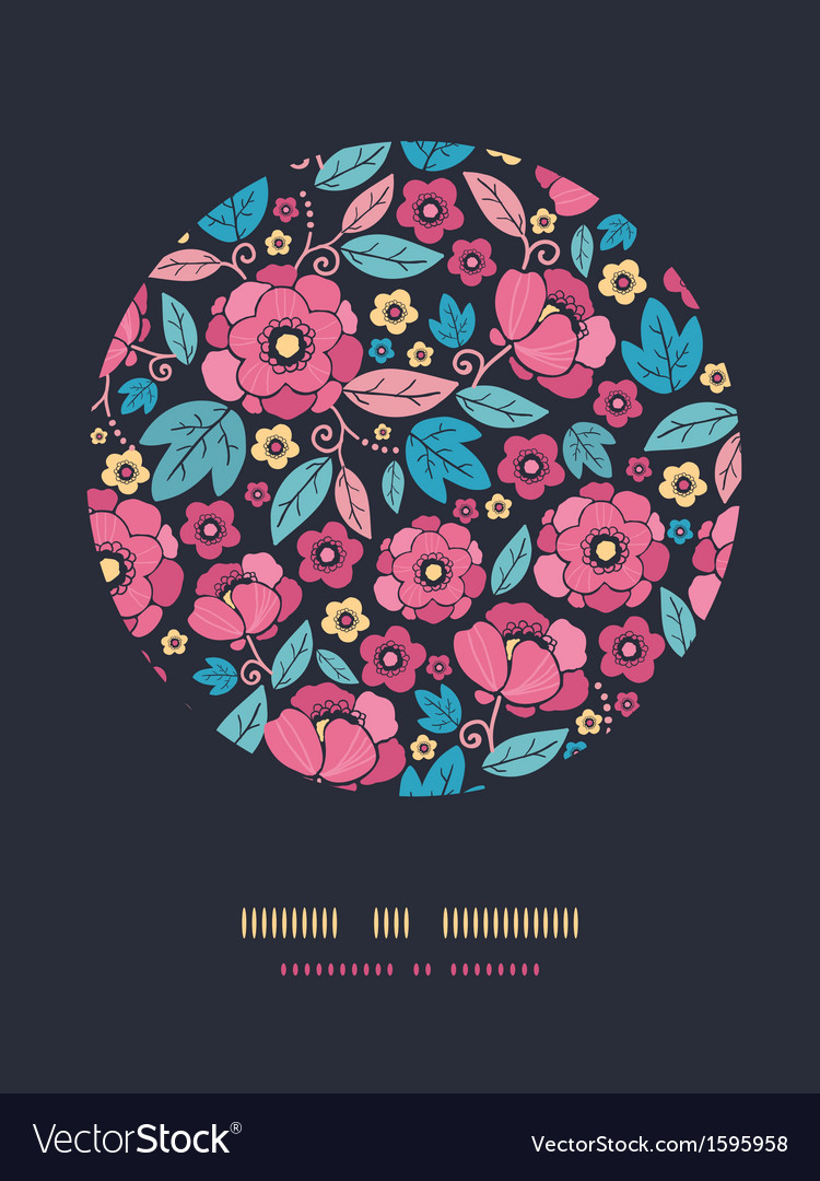 Night kimono blossom circle decor pattern vector | Price: 1 Credit (USD $1)