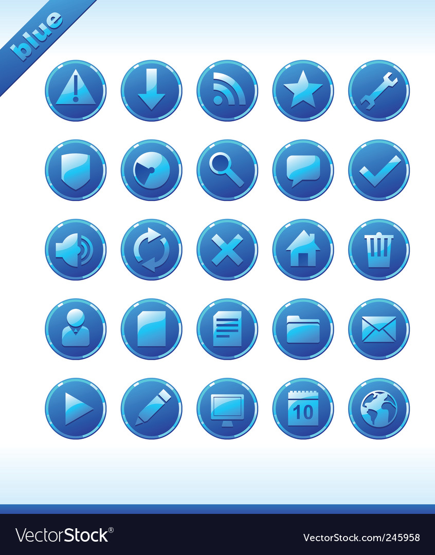 Popular web icons in blue vector | Price: 1 Credit (USD $1)